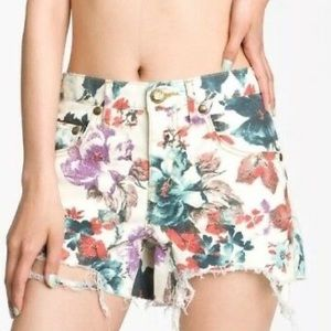 Free People Floral Denim Cutoffs Size 29